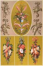 XVIII Siecle 1873 Mordaunt de Launay Flores patrones de diseño francés Litografía