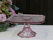 Chic Antique Tortenplatte am Fuß mit Perlenkante dusty rose vintage und shabby