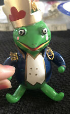 Vintage Very Rare Christmas Ornament : Glass FROG PRINCE Italian De Carlini