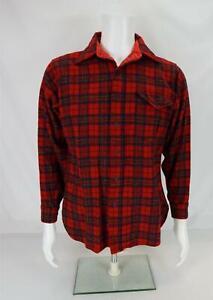 Vintage Pendleton Shirt Wool Flannel Button-Up Plaid Check Long Sleeve Men's M