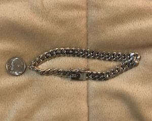 "Sterling Silver Link Bracelet, 9"", 8mm, 925, A & Z, Beautiful Condition!"