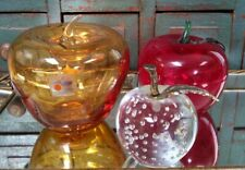 Lot 3 Vtg Blown Art Glass Apples Blenko + Other? Amber Red Clear Harvest Decor