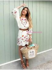 Zara Embroidered Off White Dress XS Extra Small 6 8 New Floral Bird BNWT