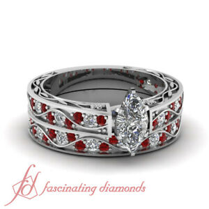 1.15 Ct Marquise Cut SI1-E Color Diamond & Ruby Antiquarian Bridal Rings Set GIA