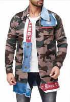 KINGZ SECTOR CAMOUFLAGE MENS JEANS JACKET DENIM ALL SIZES