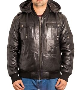 Mens Black Leather Urban Street Style Quilted Pilot Fitted Bomber Jacket