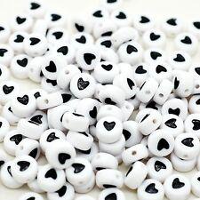 100 x 7mm blanc noir love coeur lettre rond perle bijoux mannequin clip making