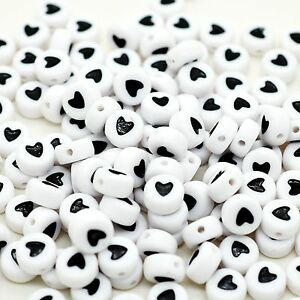 100 x 7mm White Black Love Heart Letter Round Bead Jewellery Dummy Clip Making