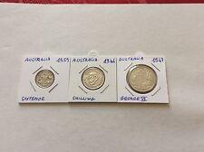 3 pièces argent Australie 6 pence 1959 - 1 shilling 1946 - florin George VI 1947