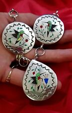 Hummingbird Inlay Stamped Sterling Silver Necklace/ Navajo
