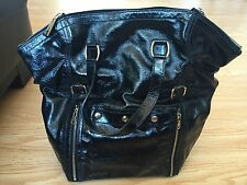 Auth YSL Yves Saint Laurent Downtown XL Tote Handbag Patent Leather Black