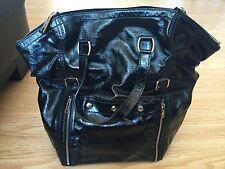 Auth YSL Yves Saint Laurent Downtown XL Tote Handbag Patent Leather Black