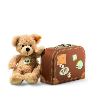 "STEIFF® 111471 - Teddybär Fynn beige ""Knopf im Ohr"" 28 cm, mit Koffer Teddy Bär"