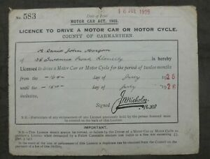 1925, Driving Licence, Carmarthen, Wales.