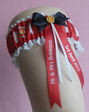 Manchester United Personalised Wedding Garter - Comes with a lucky sixpence