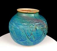 "STUDIO ART POTTERY TURQUOISE BLUE PINK MOTTLED LARGE WHEEL-THROWN 6 3/4"" VASE"