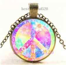 Vintage Rainbow Peace Sign Cabochon Glass Dome Bronze Pendant Necklace