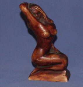 Vintage hand made modernist nude woman resin figurine