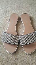 Lunar black sandals mules diamanté size 7 40 Worn once