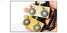 Wooden Necklace * DJ Turntable ntrl * Black Wooden Beads 8mm