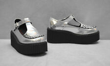 2a00b815688a9 A8 NEW DEMONIA Creeper 214 Silver Hologram T Strap Platform Shoes Size US  8.5