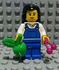 LEGO GARDENER MINIFIGURE City Female Girl Black Hair/Braid/Overalls/Fruits