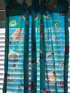 4 Curtain Panels Matching Standard Pillow Sham Tropical Fish Blue Green New