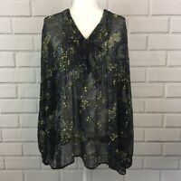 Lane Bryant Women's V-Neck Tie Front Pleated Long Sleeve Sheer Top Plus 26/28