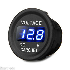 Round DC Voltmeter Car/Motorcycle Power Gauge Blue LED Digital Display 12V/24V