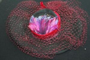"""VINTAGE 1960'S WOOL FELT HAT WITH RED & PURPLE FEATHERS  7 1/2"""" X 6"""" OPENING"""