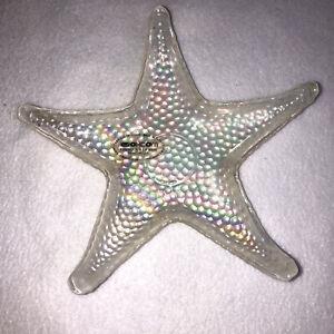 Akcam STARFISH Iridescent White Glass Plate Dish Turkey Beach Ocean Nautical