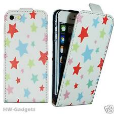 Stylish Leather Thin Flip Case Cover for Apple iPhone 4 4S 5 5S 5C - STARS