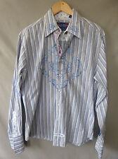 English Laundry Mens Shirt M Cotton Blue Tan Striped Floral Button Down