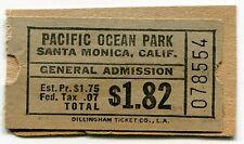 """Vintage Admission Ticket - """"PACIFIC OCEAN PARK"""" [POP] Amusement Park"""