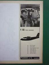 1960 PUB PIAGGIO GENOVA AVION P.166 BIMOTEUR AIRCRAFT 2 ENGINES ORIGINAL ADVERT