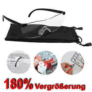 Lupenbrille Vergrößerungsbrille 180% Vergrößerung Zauberbrille Kopflupe Brille