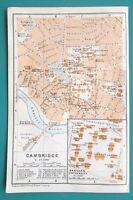 """CAMBRIDGE & Harvard University Plan - 1909 MAP Baedeker 4 x 6"""" (10 x 15,5 cm)"""