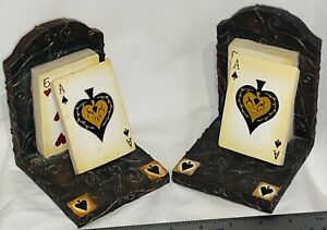Bookends Playing Card Poker Fun Figural Resin Man Cave Ace Ends Vegas Game Room