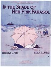 In the Shade of Her Pink Parasol Victorian beach scene vtg Mint sheet music #1
