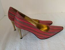 "Timothy Hitsman Amazon Red Stripped Gold Toe 3 1/2"" Heel Pumps Shoes Size 6M"