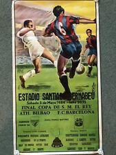 ORIGINALE 1984 Copa del Rey finale del campionato di calcio poster Maradona MASSA Rissa