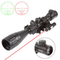 Rifle Scope Hunting 6-24X50 R/G Mil-dot Reticle w/ PEPR Mount &Red Laser Sight