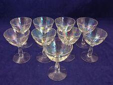 Vintage Set of 9 Fostoria Opalescent Iridescent Mini Wine Glasses