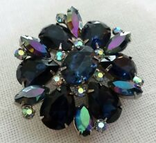 Vintage prong set blue faceted glass and Aurora borealis rhinestone pin brooch