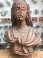 Très Belle Sculpture Grand Buste Vierge XVIIe Terre Cuite Sud Ouest France