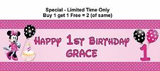 Personalised Baby Child 1st any age name Birthday Party Banner Pink Minnie Mouse