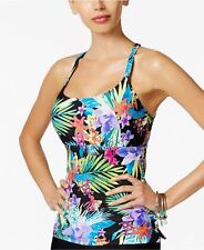 NEW Island Escape Black Multi Montage Gardens Strappy Tankini Top size 12