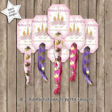 MAGICAL FLORAL GOLD UNICORN BIRTHDAY PARTY PERSONALISED HAIR/WRIST BANDS X 6
