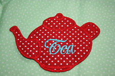 Teapot Coaster MugRug in Red / White Spotty Fabric