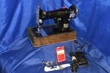 PRECISION DE LUXE LONG SHUTTLE SEWING MACHINE SERVICED TESTED SEWED NICE